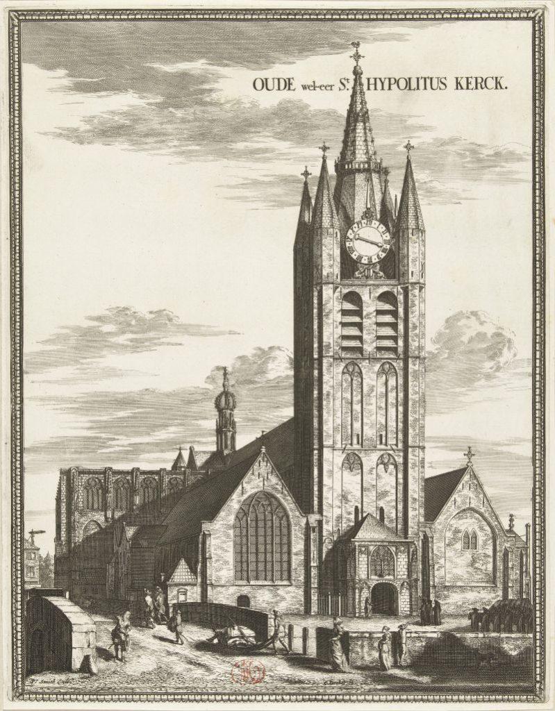 Radierung Oude Kerk in Delft von Coenraet Decker, 17./18. Jahrhundert