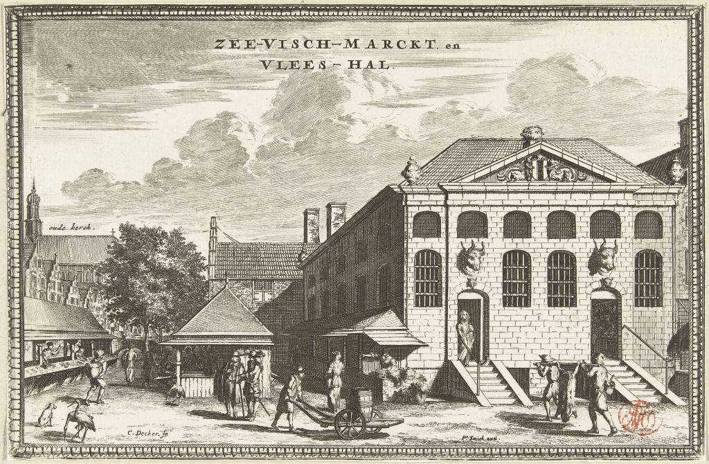 Radierung 17. Jahrhundert Fleisch und Fischmarkt in Delft von Coenraet Decker
