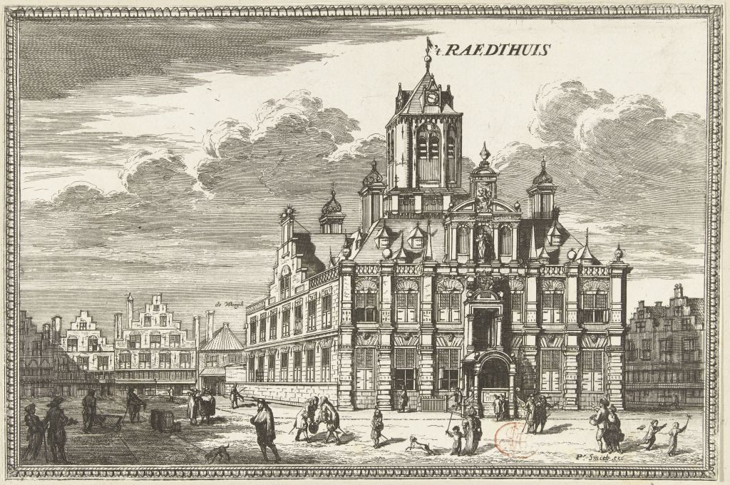 Radierung des Rathauses / Stadthauses von Delft von Coenraet Decker