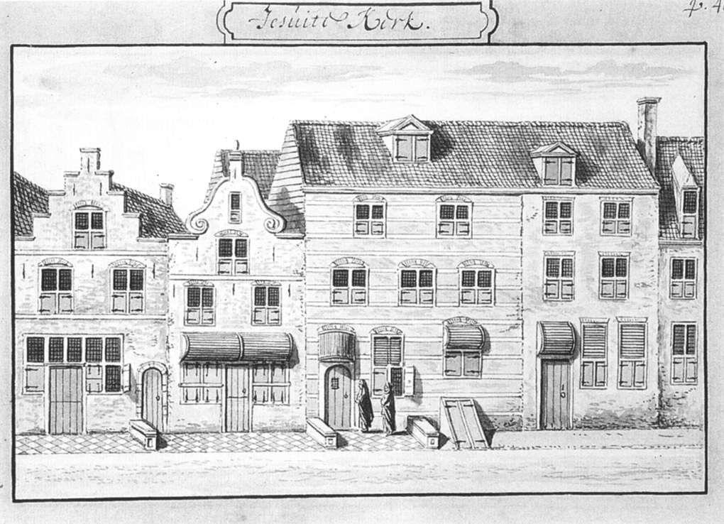 Radierung der Jesuitenkirche in Delft aus dem 17. Jahrhundert. Am rechten Bildrand ist ein Teil des Wohnhauses von Vermeer zu sehen.