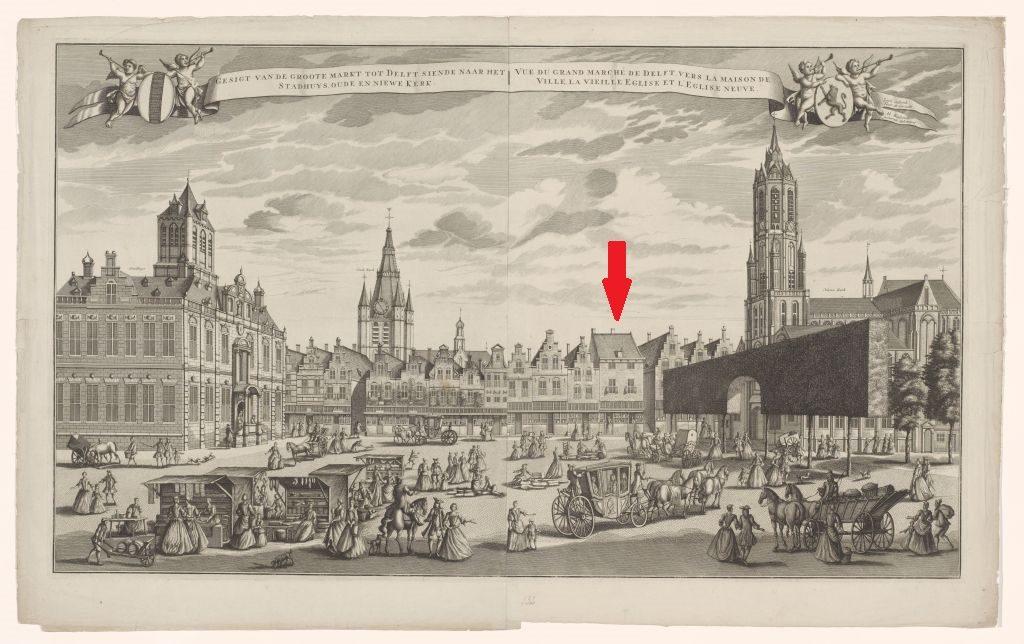 Stadtansicht Großer Markt in Delft; Radierung von Leonard Schenk, nach Abraham Rademaker