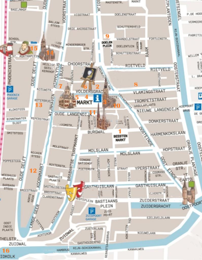 Karte von Delft mit den eingezeichneten Stationen des Vermeer-Rundgangs