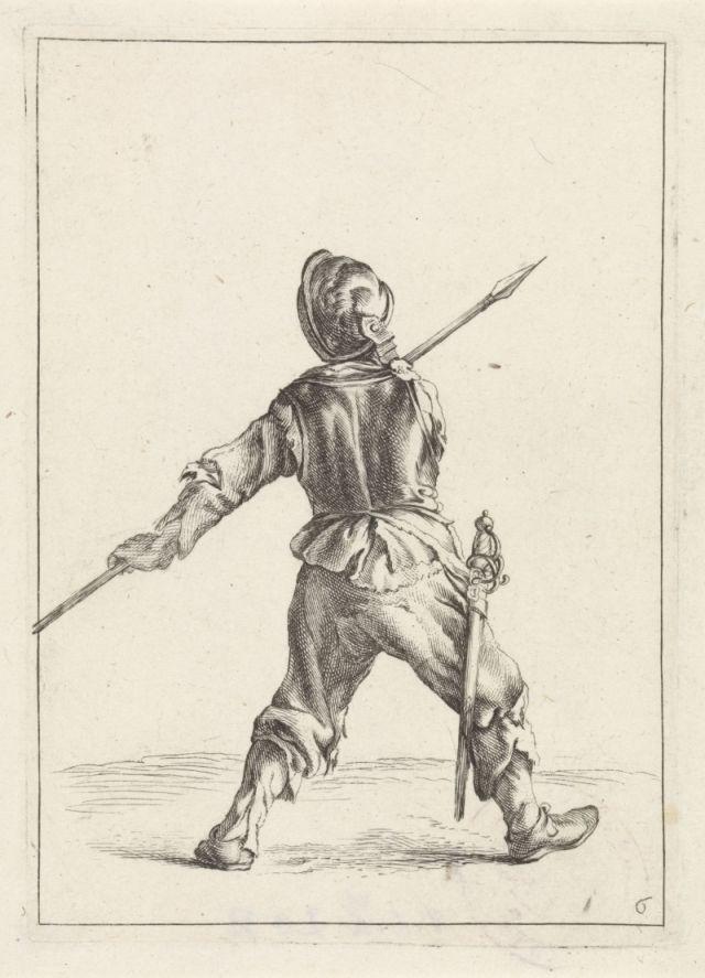 Radierung Soldat mit Pike, Brustpanzer und Helm im 17. Jahrhundert