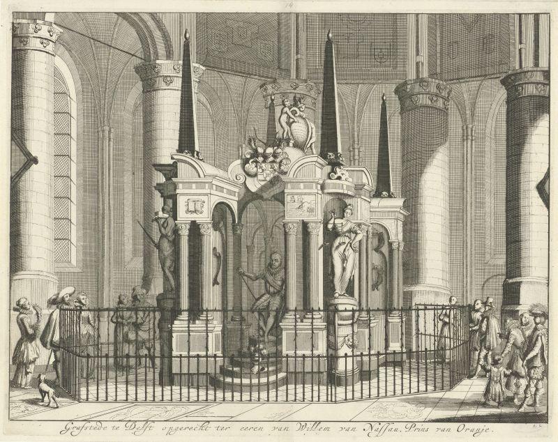 Mausoleum van Willem van Oranje, 1623 in der Neuen Kirche in Delft, Jan Luyken, 1679 - 1684