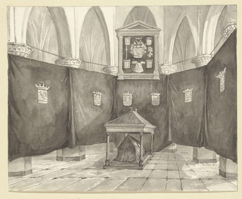 Das provisorische Grab von Wilhelm von Oranien in der Neuen Kirche in Delft