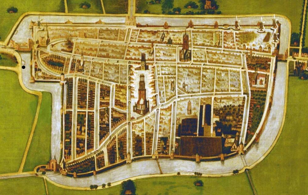 Übersichtskarte von Delft mit den verwuesteten Stadteilen nach der Explosion 1654