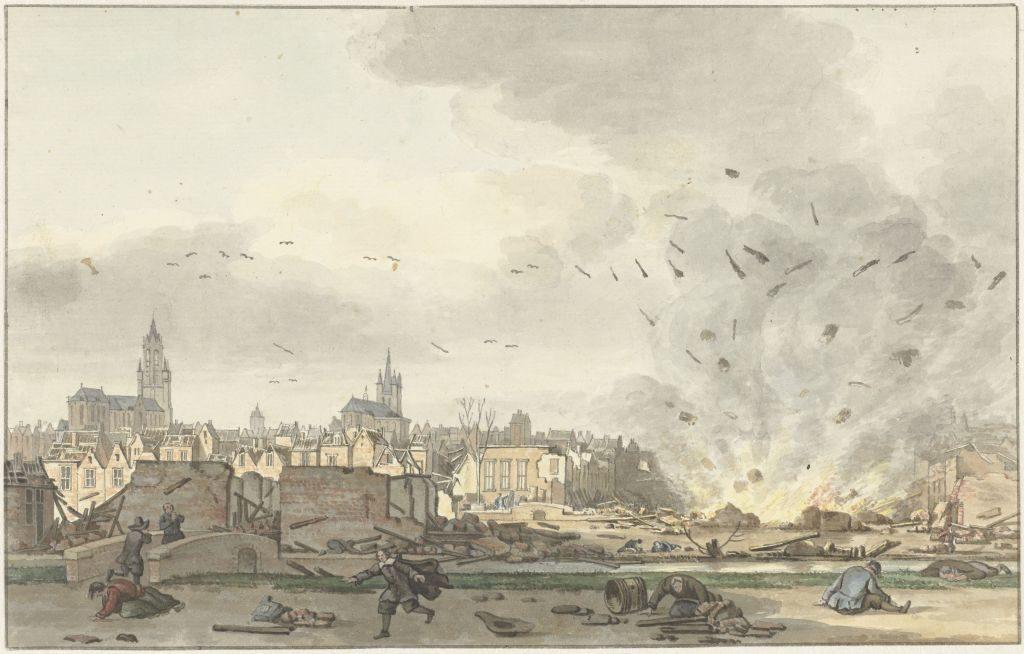 Bild von Hendrik de Winter mit der Ansicht von Delft nach der Explosion 1654