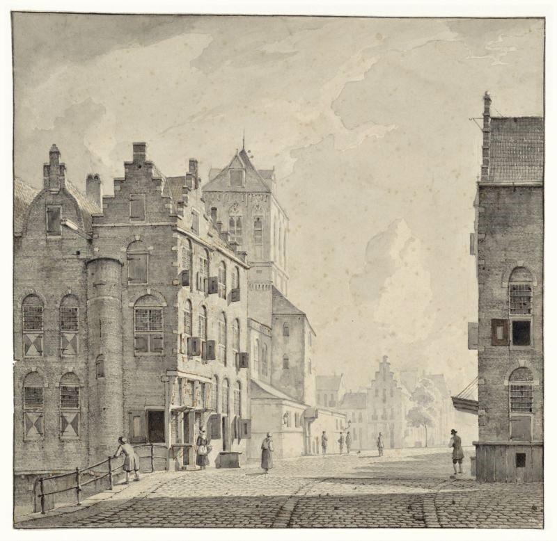 Druck mit Blick auf das Haus am Markt 2 in Delft; Aan de markt te Delft, Kasparus Karsen, 1820 - 1896
