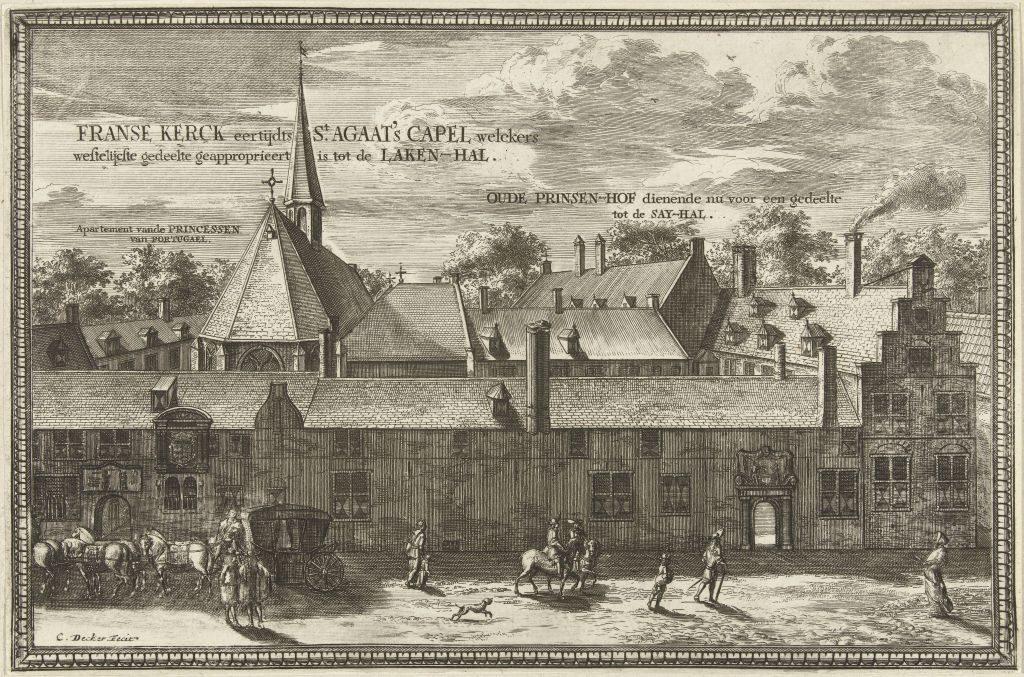 Druck mit Ansicht des Prinsenhof von Delft, Coenraet Decker, 1678 - 1703