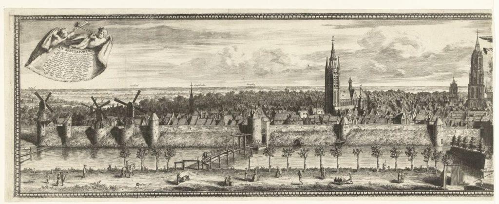 linker Abschnitt eines Druckes mit der Ansicht auf Delft von Coenraet Decker, 1678 - 1703