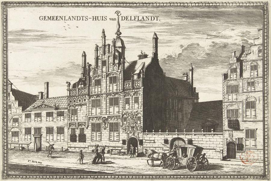 Druck mit Ansicht des Gemeenlandshuis von Delfland in Delft (Wasseraufsichtsbehoerde), Coenraet Decker 1678 - 1703