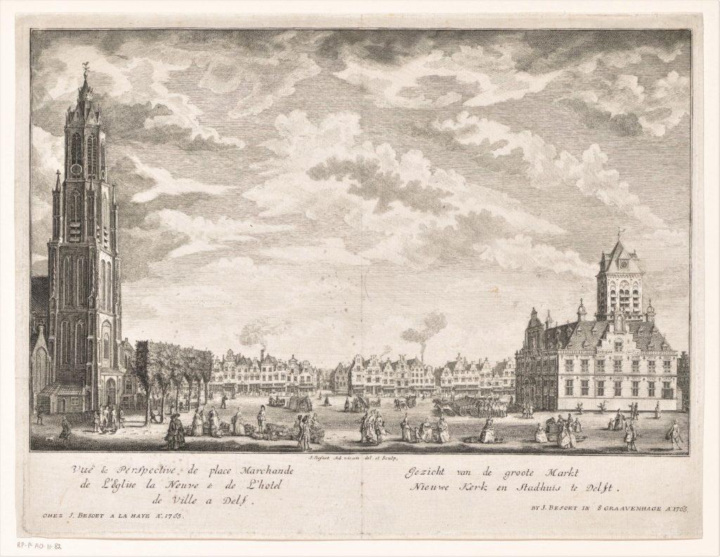 Druck Ansicht auf den Markt mit Rathaus und Neuer Kirche in Delft; Gezicht op de Markt, de Nieuwe Kerk en het stadhuis te Delft, Iven Besoet, 1765