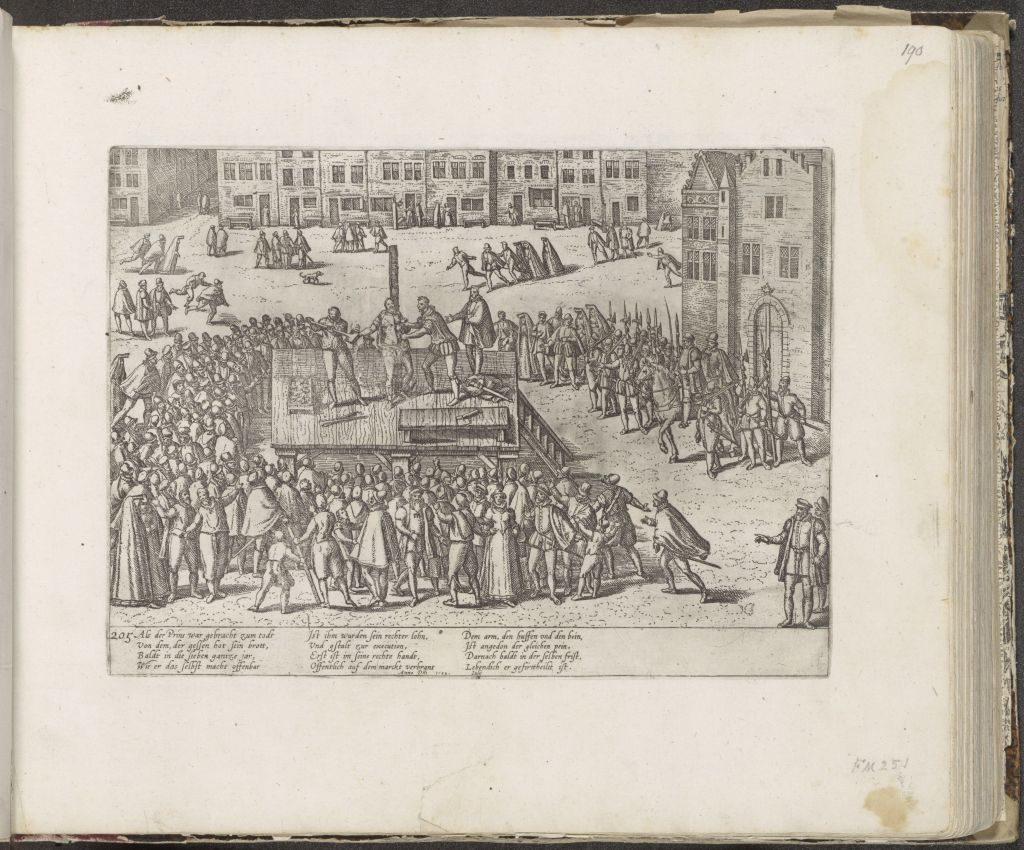 Druck mit der Exekution von Balthasar Gerards auf dem Marktplatz in Delft, 1584, Frans Hogenberg, 1587 - c. 1591