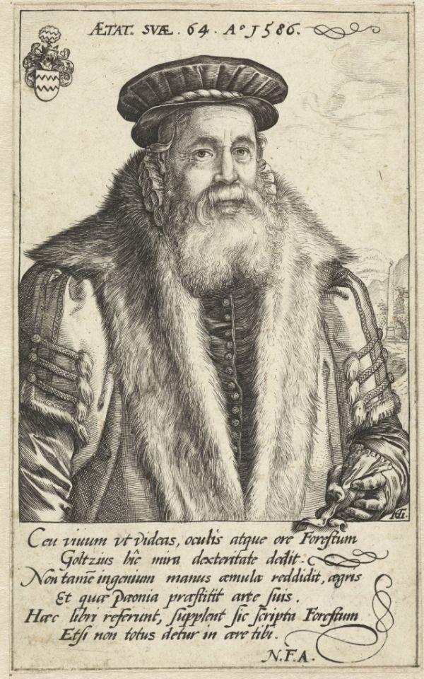 Druck mit Portraet des Arztes Pieter van Foreest, anonymer Kuenstler gemaeß Goltzius, ca. 1586 - 1600