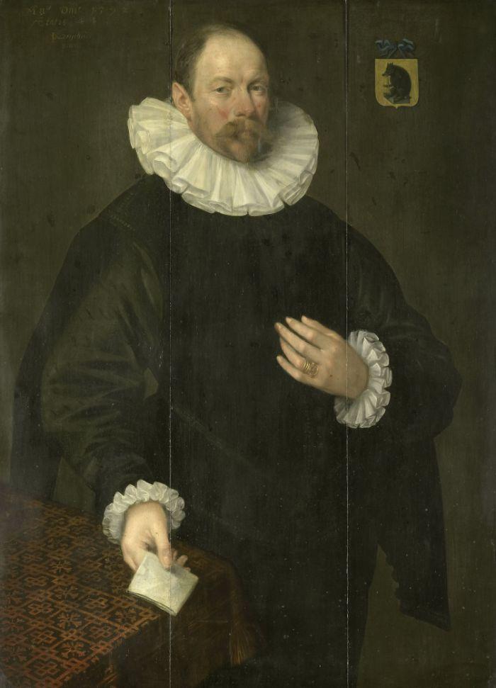 Portraet von Paulus C. van Beresteyn (1548-1625), Buergermeister von Delft und Besitzer des Hauses Inde Gulden Meebael, gemalt von Jacob Willemsz. Delff (I), 1592