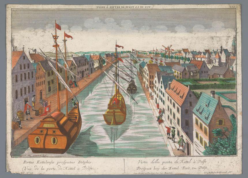 Zeichnung Blick auf eine Gracht in der Nähe des Ketelpoort vonDelft, Georg Balthasar Probst, 1742 - 1801