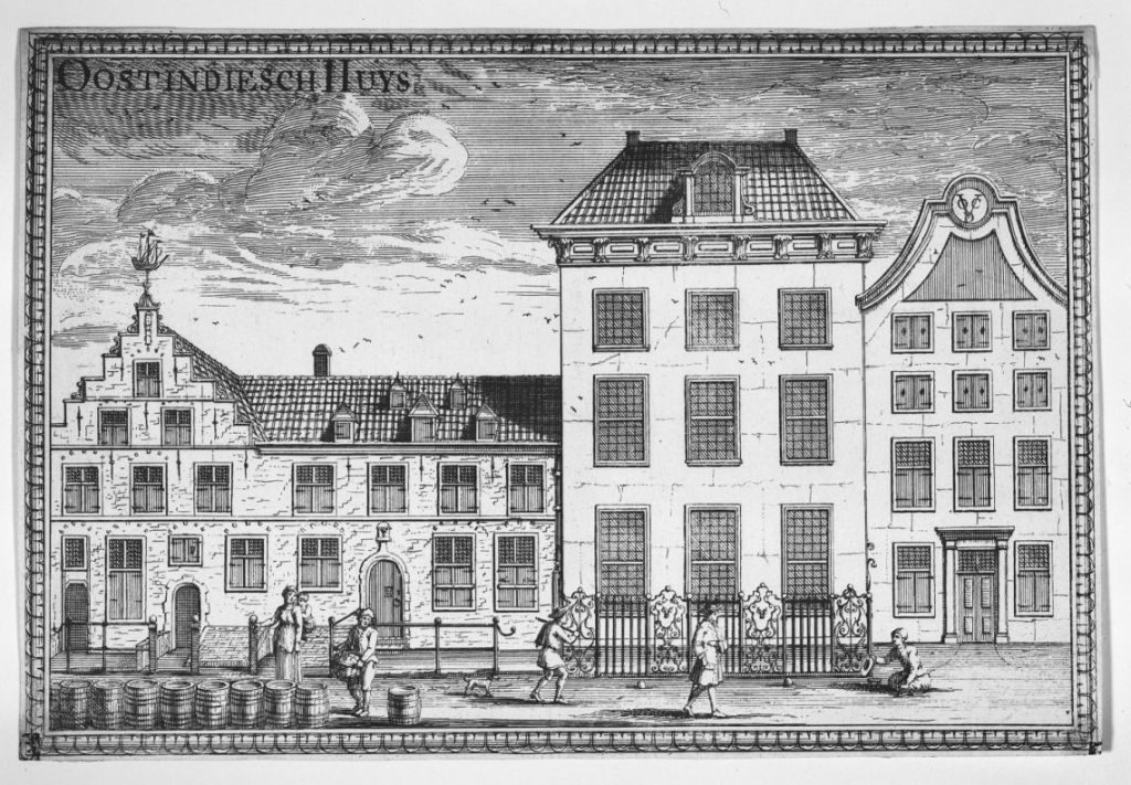 Oost-Indisch-Huis; Haus der VOC in Delft; Gravur bij Reinier Boitet (1729)
