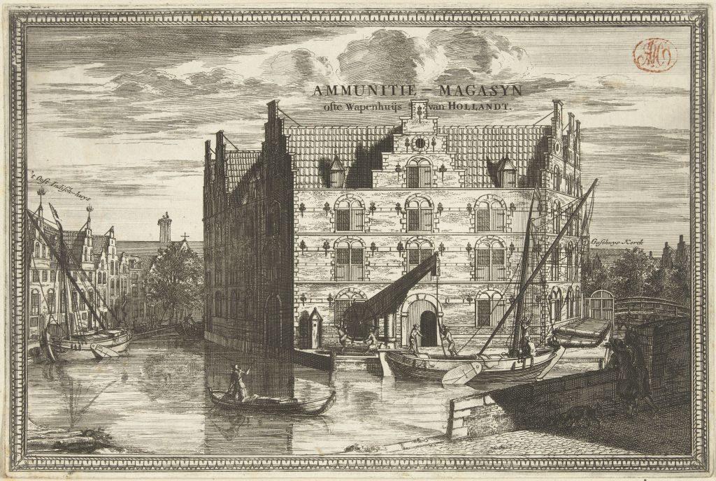Radierung Ansicht des Armamentarium von Delft, Coenraet Decker