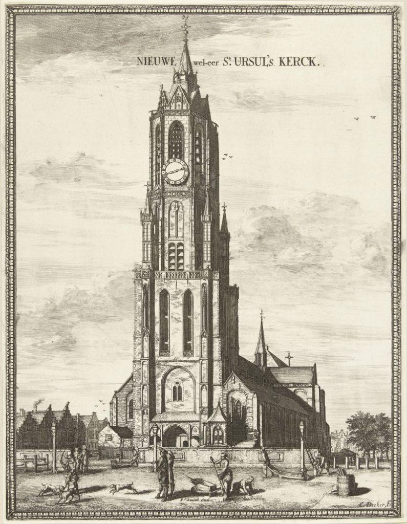 Druckgraphik mit Ansicht der Neuen Kirche in Delft; Gezicht op de Nieuwe Kerk te Delft, Coenraet Decker, 1678 - 1729