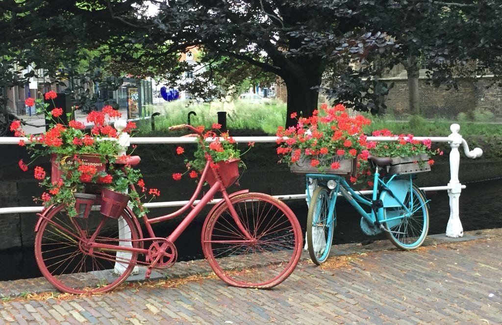 ein rot und ein tuerkis bemaltes Fahrrad mit Geranien dekoriert an einer Gracht in Delft