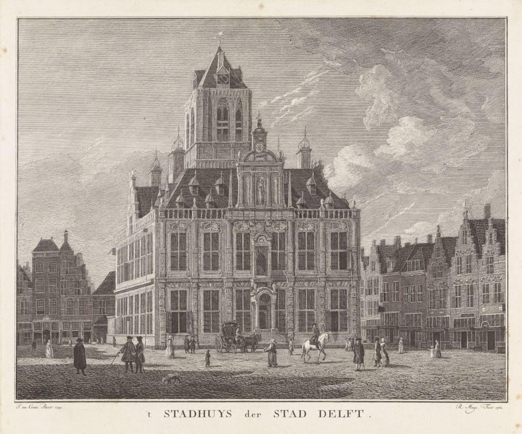 Graphik mit Ansicht des Rathauses (stadhuis) von Delft; Robbert Muys, after J. ten Comte, 1762