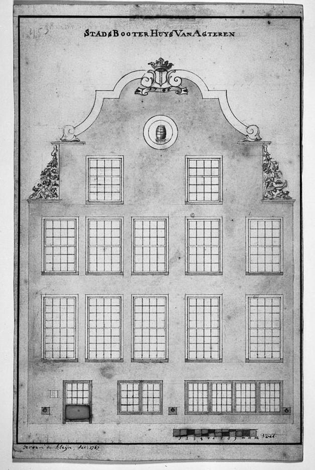 Ansicht des Butterhaus (boterhuis) in Delft von der Kanalseite; Zeichnung von Jeroen de Kleijn 1767