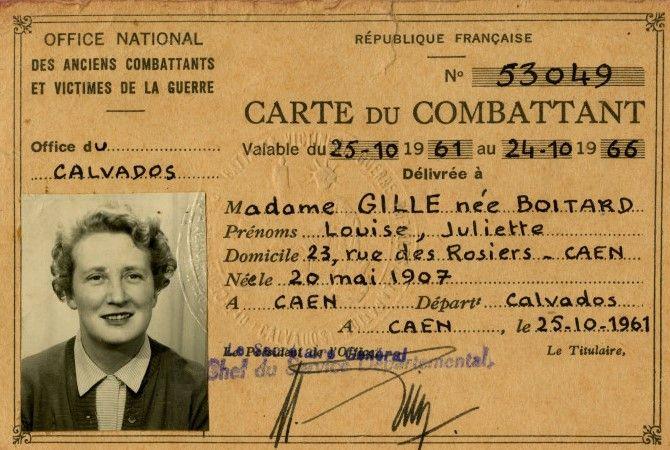 Veteranenausweis von Louise Boitard Gille, einer franzoesische Widerstandskaempferin