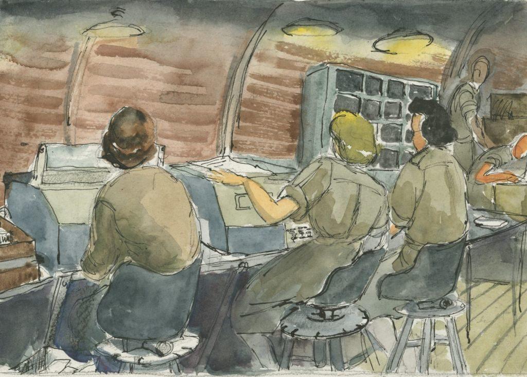 Aquarell von Molly Lamb Bobak, das kanadische Teletypistinnen des CWAC waehrend der Nachtschicht in Apeldoorn zeigt