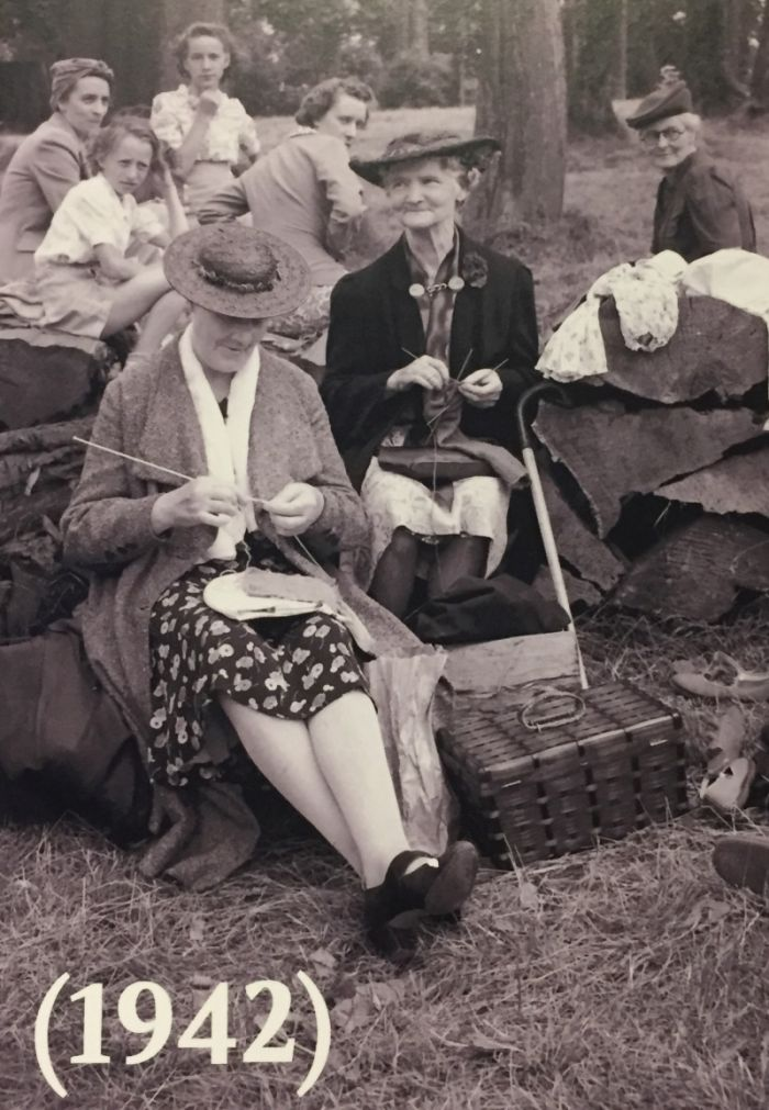 Frauen der Vancouver Hausfrauen Liga beim Stricken 1942