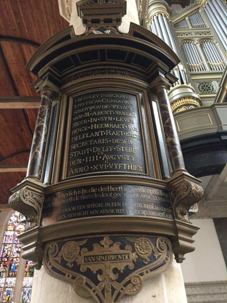 Epitaph Clara van Spaerwoude in der Oude Kerk (Alte Kirche) in Delft