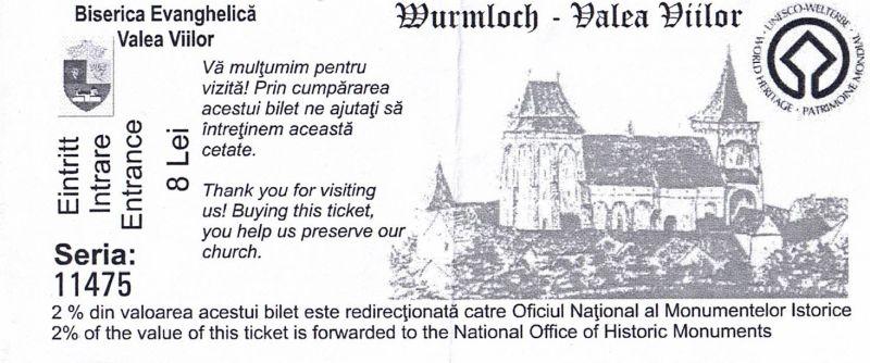 Eintrittskarte fuer die Kirchenburg in Valea Viilor (Wurmloch), Siebenbuergen, Rumaenien