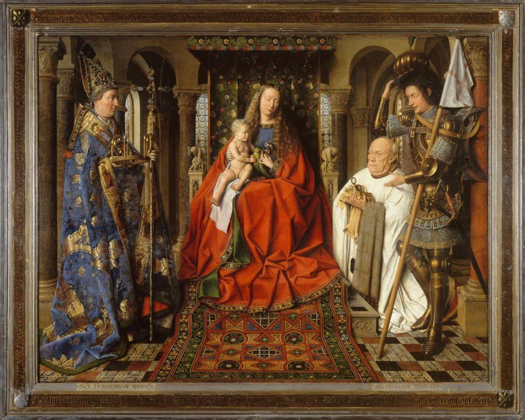 Madonna des Kanonikus Joris van der Paele von Jan Eyck; Gemaelde im Museum Groeninge in Bruegge