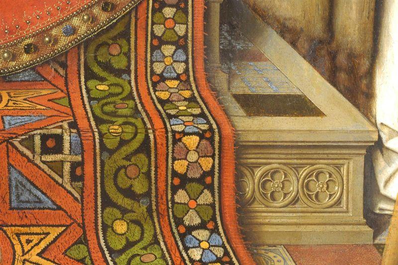 Detail des Gemaeldes die Madonna des Kanonikus Joris van der Paele von Jan Eyck