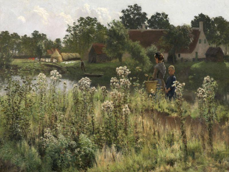 Gemaelde Fluss Lys bei Astene von Emile Claus