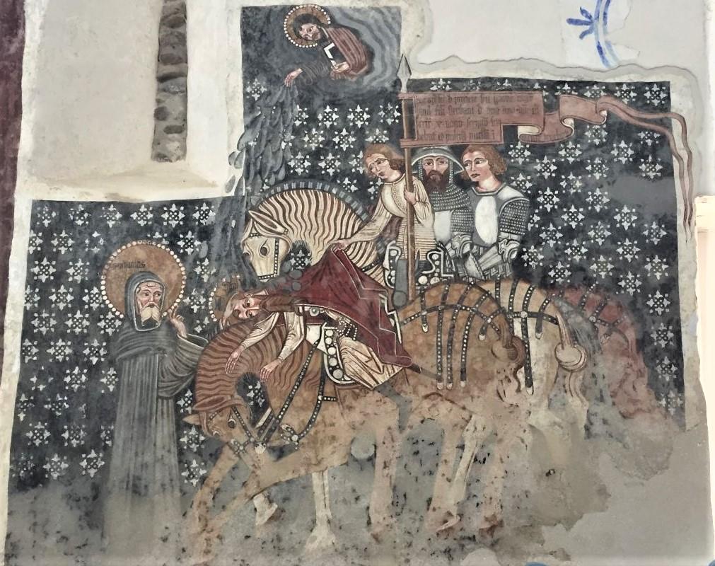 Fresko die Bekehrung des Paulus in Kirchenburg Dersch