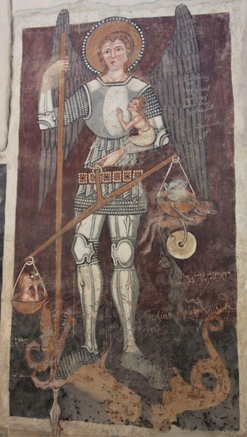 Fresko des Erzengels Michaels mit Seelenwaage in Kirchenburg Dersch