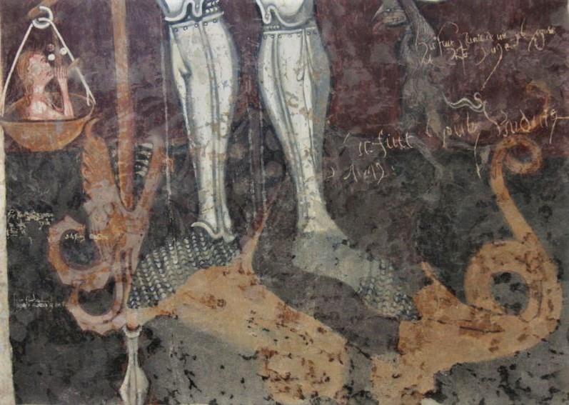 Detail des Freskos der Heilige Michael toetet den Drachen