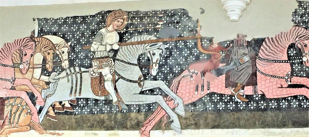 Detail des Freskos Heiliger Ladislaus und der Kumane Kirchenburg Dersch