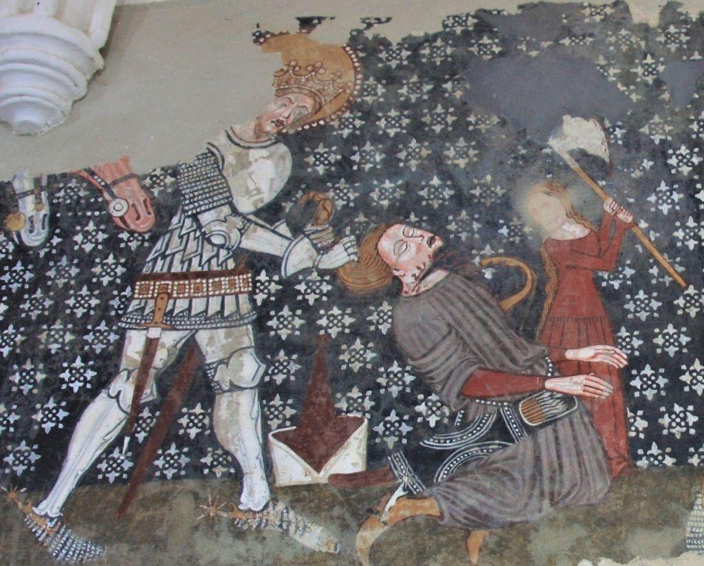 Detail des Freskos Heiliger Ladislaus und der Kumane Kirchenburg Darjiu / Székelyderzs