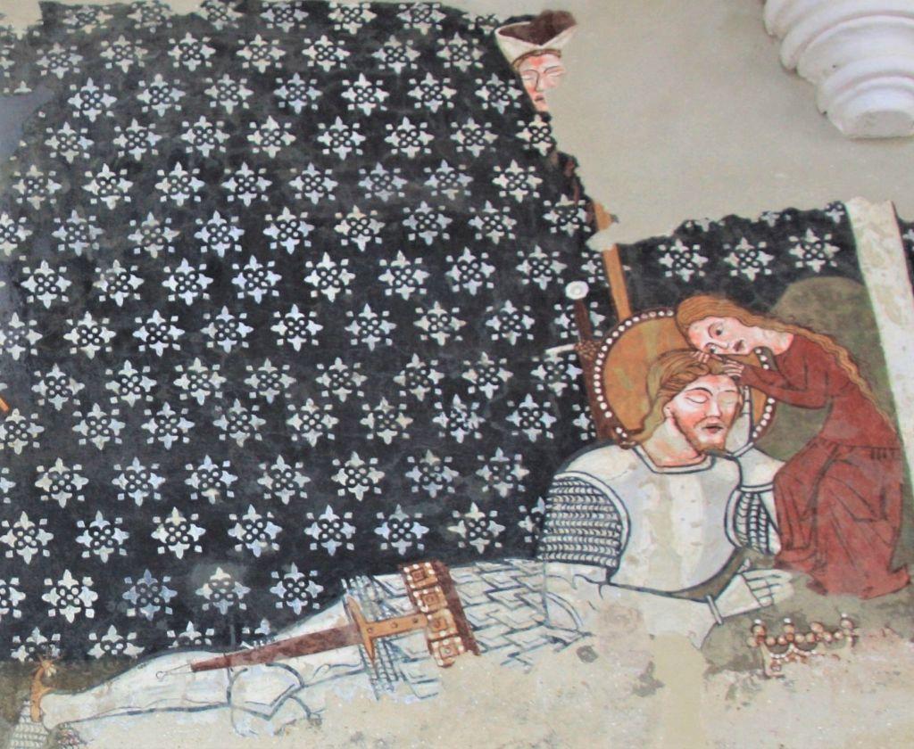 Detail Fresko Heiliger Ladislaus mit Mädchen