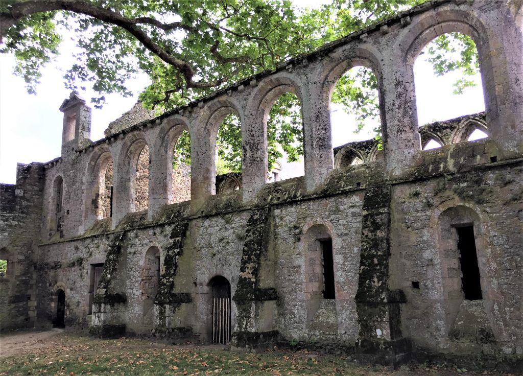 Arkaden des Refektoriums und des Gewoelbekellers der Abtei von Beauport in der Bretagne