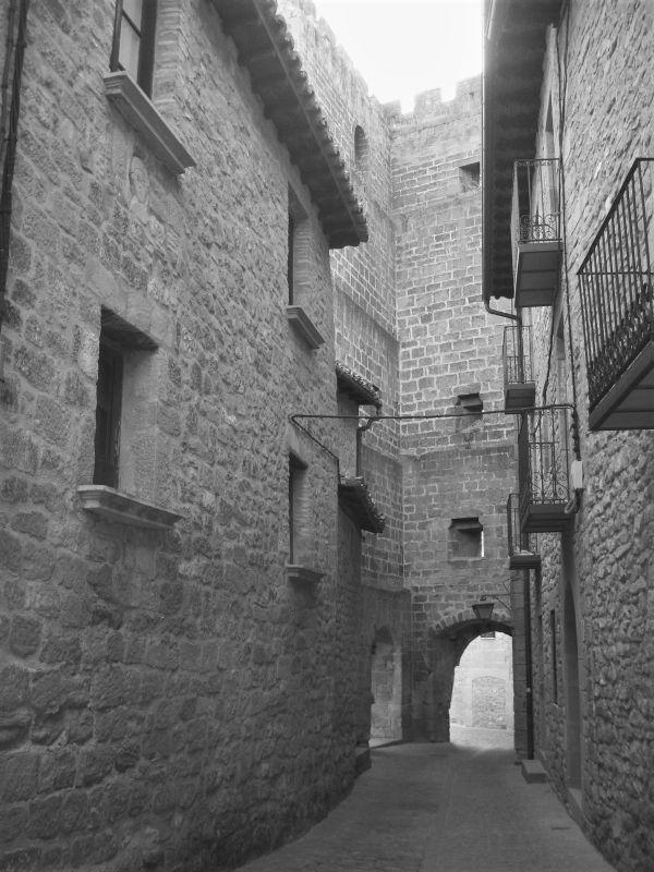 enge Altstadtgasse mit restaurierten Haeusern in Sos del Rey Católico in Aragón