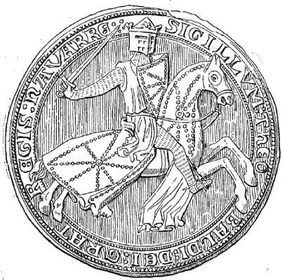Siegel von Teobaldo II., Koenig von Navarra im 13. Jahrhundert