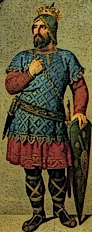 Koenig Sancho Garcés II. von Navarra mit den beruehmten Abarcas, den ledernen Schnuerschuhen