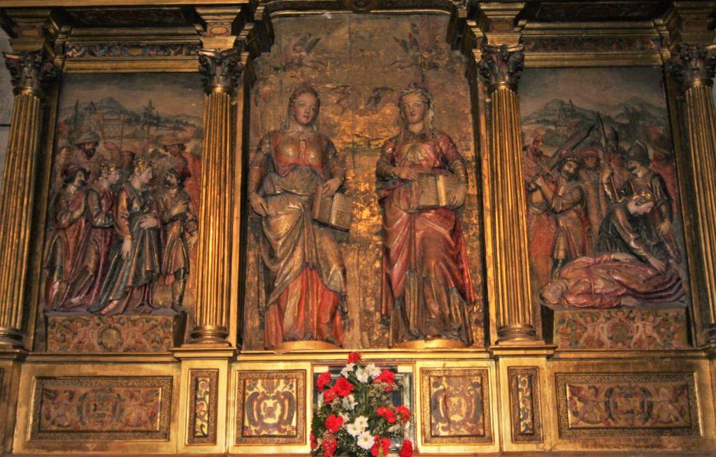 Altarbild mit dem Maryrium der Heiligen Nunilo und Alodia in der Klosterkirche von Leyre