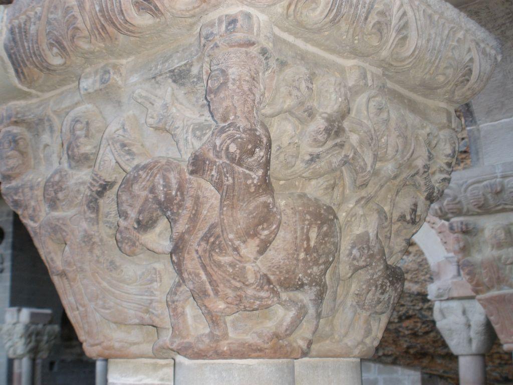 Kapitell Einzug Jesus in Jerusalem am Palmsonntag im Kreuzgang des Kloster San Juan de La Pena