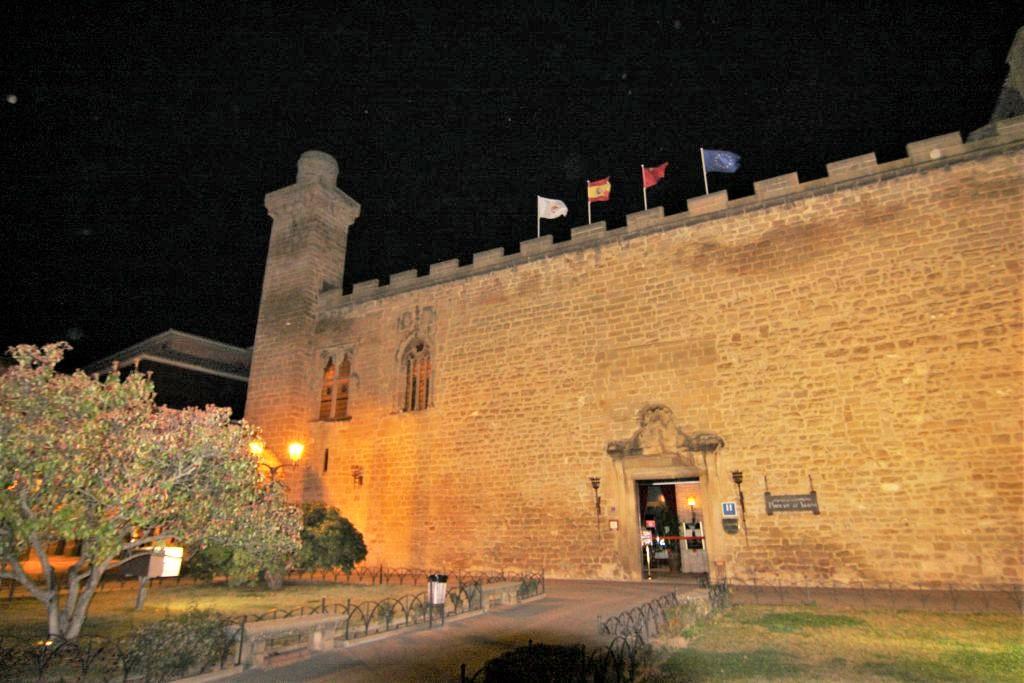 naechtlich beleuchteter alter Palast und Parador Olite in Olite, Navarra