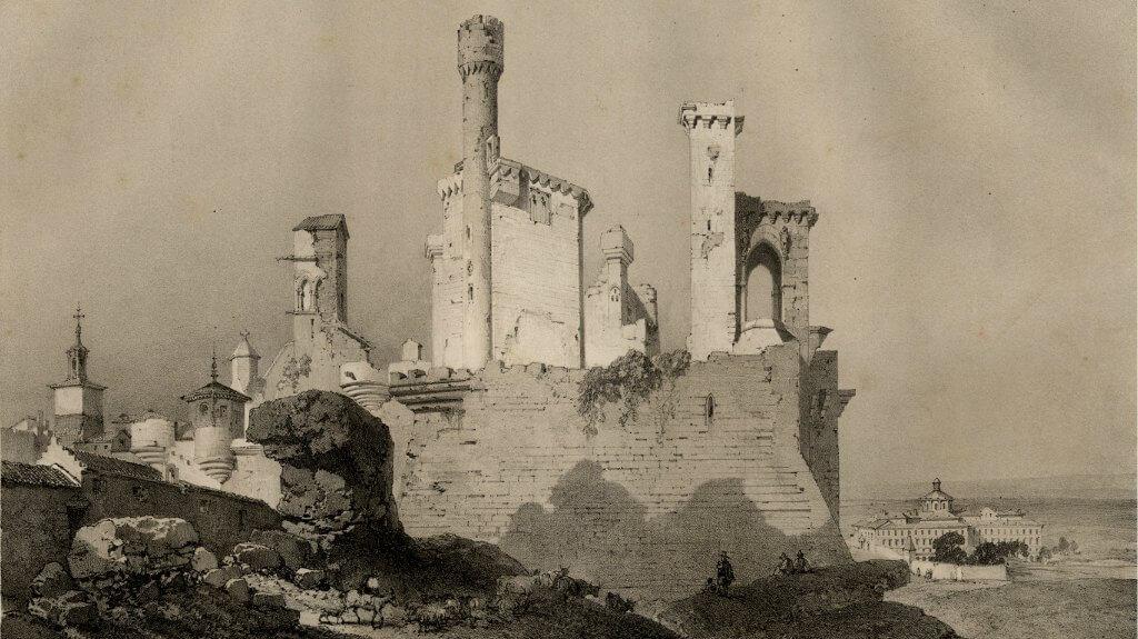 Litografía del Castillo-Palacio de Olite de 1850 (Fuente: Gobierno de Navarra)