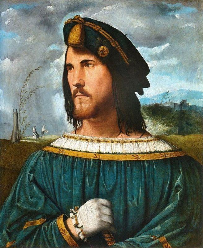 Portrait of GentlemanakaCesare Borgia. Altobello Melone (1491-1543); Accademia Carrara
