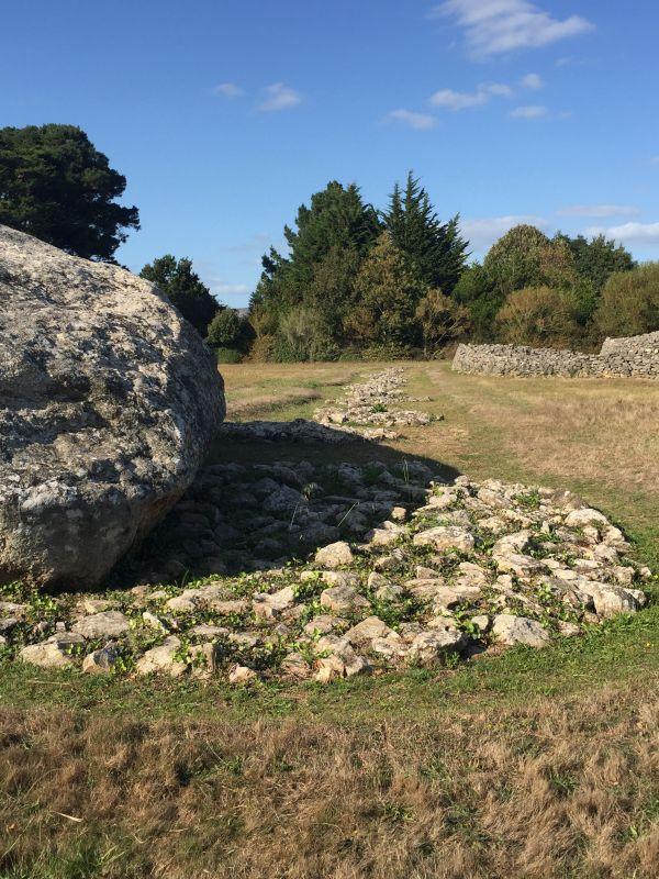 Überreste der ehemaligen Menhirreihe in Locmariaquer; Bretagne